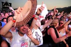 De mensen van de menigte (ventilators) letten op een overleg bij FIB Festival royalty-vrije stock foto's
