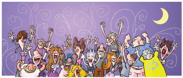 De Mensen van de Partij van de Nacht van het beeldverhaal. Stock Foto