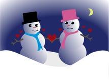 De Mensen van de sneeuw in Liefde Royalty-vrije Stock Afbeeldingen