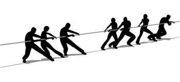 De mensen van de touwtrekwedstrijd silhouetteren Stock Foto's