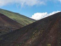 De mensen van de trekking in windsuits in een steeg stock foto's