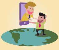 De mensen van een deel van de wereld kunnen elkaar met Internet t zien Stock Foto's