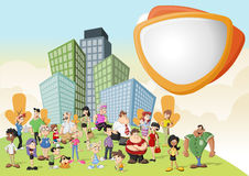 De mensen van het beeldverhaal op groen park in de stad Stock Foto
