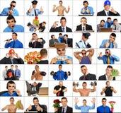 De mensen van het fotomozaïek in het werk royalty-vrije stock afbeeldingen
