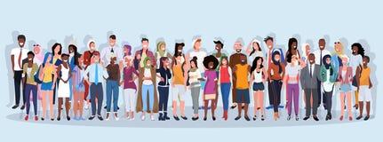 De mensen van het mengelingsras groeperen verschillend beroep die zich over blauwe achtergrond mannelijke vrouwelijke werknemers  stock illustratie