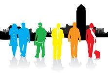 De mensen van het silhouet het lopen Royalty-vrije Stock Foto's