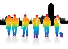 De mensen van het silhouet het lopen Stock Afbeelding