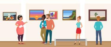 De mensen van museumbezoekers in reis met gids nemen en de galerijmuseum die van de kunsttentoonstelling de vector van beeldenfot stock illustratie