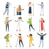 De mensen van musicuszangers De vocale zangerkunstenaar, de zingende diva opera met mic en de musici zingen liedoverleg vectorvla royalty-vrije illustratie