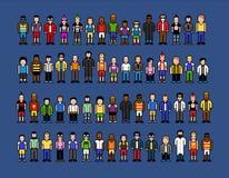 De mensen van de pixelkunst, de vector geïsoleerde illustratie van de videospelletjestijl Stock Fotografie
