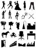De mensen van silhouetten, robots, bureaus, scènes Royalty-vrije Stock Afbeelding