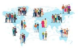 De mensen verbonden aan lijnen die zich op een vectorillustratie van de wereldkaart bevinden Sociale media en sociaal netwerkconc royalty-vrije illustratie
