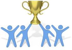 De mensen vieren de winsttrofee van de Teaminspanning vector illustratie