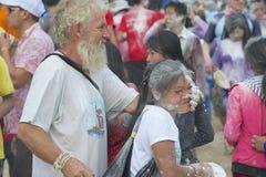 De mensen vieren Lao New Year in Luang Prabang, Laos Stock Afbeeldingen