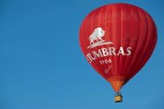 De mensen vliegen met de hete luchtballon in Vilnius, Litouwen Stock Foto's
