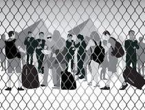 De mensen in vluchteling kamperen Stock Afbeeldingen