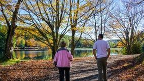 De mensen wandelen rond Bass Lake North Carolina Royalty-vrije Stock Foto's