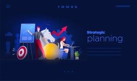 De mensen werken aan strategische planning en marketing strategieën vector illustratie