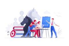De mensen werken aan strategische planning en marketing strategieën royalty-vrije illustratie