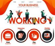 De mensen werken aan woord het WERKEN kan gebruiken voor, landingspagina, malplaatje, ui, Web, mobiele toepassing, affiche, banne vector illustratie