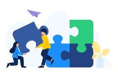 De mensen werken verbindende raadselelementen samen stock illustratie