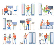 De mensen zijn bezig geweest met reparatie en onderhoud van servers en computers Systeembeheerders Vector illustratiereeks royalty-vrije illustratie