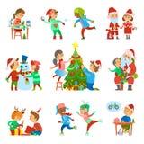 De Mensenactiviteiten van de Kerstmisvakantie Geplaatst Vector royalty-vrije illustratie