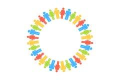 De mensencirkel verzamelt zich rond op witte achtergrond royalty-vrije illustratie
