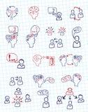 De mensencommunicatie van de krabbelregeling met pictogrammen Stock Foto's