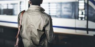 De mensenconcept van zakenmanwaiting passenger stock fotografie
