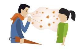 De mensengriep besmet anderen Verkoudheid royalty-vrije illustratie