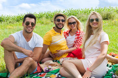 De mensengroep die van de vriendenpicknick algemeen openlucht groen gras zitten Royalty-vrije Stock Foto's