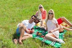De mensengroep die van de vriendenpicknick algemeen openlucht groen gras zitten Royalty-vrije Stock Afbeeldingen