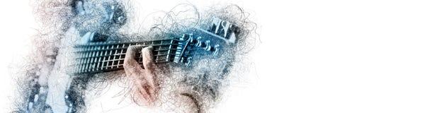 De mensenholding die een gitaar spelen, blauw bruin kleurenbeeld met digitale gevolgen schetst silhouet op wit panoramisch exempl stock illustratie