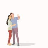 De Mensenmeisje die van het silhouetpaar Selfie-Foto op Slimme Telefoon nemen Stock Foto