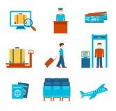 De mensenobjecten van de reis vlakke stijl het pictogramreeks van kaartjesinfographics Stock Fotografie