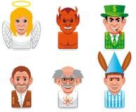 De mensenpictogrammen van het beeldverhaal Royalty-vrije Stock Afbeeldingen