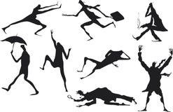 De mensensilhouetten van Grunge Royalty-vrije Stock Afbeeldingen
