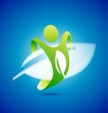 De mensensymbool van de ecologie. Milieu concept Stock Foto