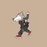 De mensenzegel van de schaatswolf Royalty-vrije Stock Fotografie