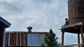 De mensenzitting van de pompoenvogelverschrikker Stock Foto