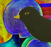 De merel - vogel het schilderen royalty-vrije illustratie