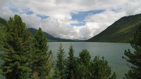 De meren met een kleine waterval tussen hen, hommel vliegt van achter een bos stock videobeelden