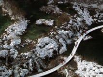 De Meren van Plitvice, Kroatië, de winterlandschap Royalty-vrije Stock Foto's
