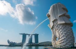 De Merlion-fontein in Singapore royalty-vrije stock foto's