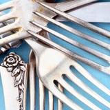 De messen en de vorken van het bestek Stock Afbeelding