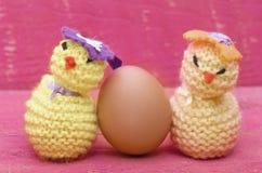 De met de hand gemaakte gebreide wollen Pasen-kuikens met echt ei op roze streven na Stock Afbeelding