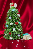 De met de hand gemaakte Kerstboom van de Stof Royalty-vrije Stock Afbeelding