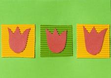 De met de hand gemaakte prentbriefkaar van Pasen met bloemen Stock Foto's