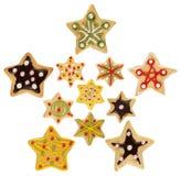 De met de hand gemaakte verfraaide koekjes van Kerstmis Royalty-vrije Stock Foto's